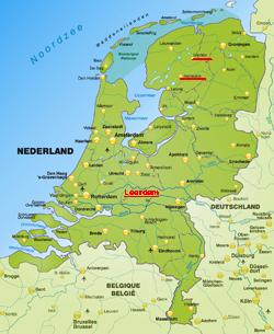 Landkarte der Niederlande - Yachtcharter in Holland